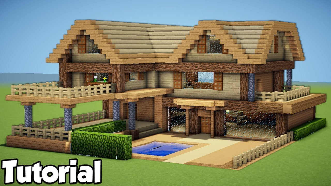Minecraft  How To Build A Large Wooden House - Tutorial 2018   Survival